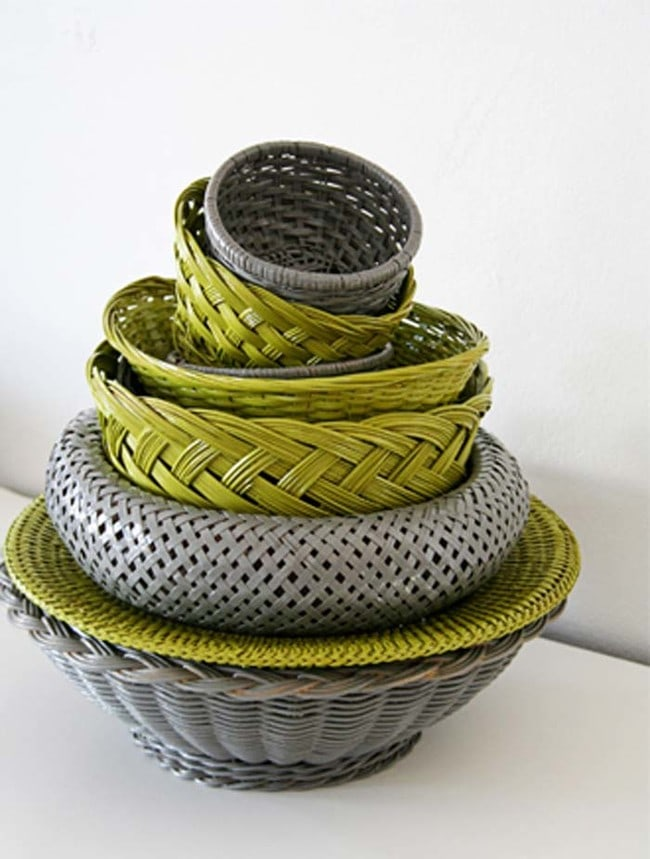 1. Spray-paint wicker baskets to match the interior of your home