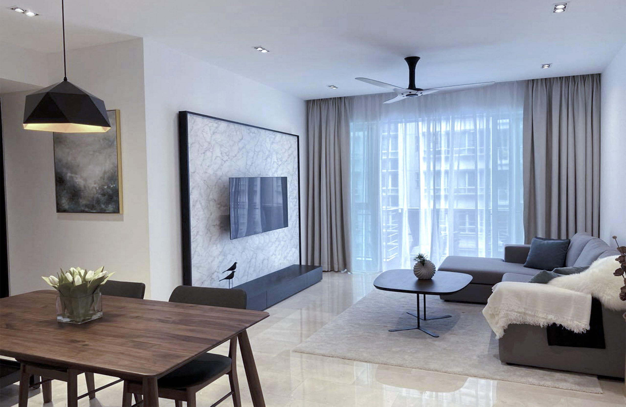Modern Condo living room design idea open concept