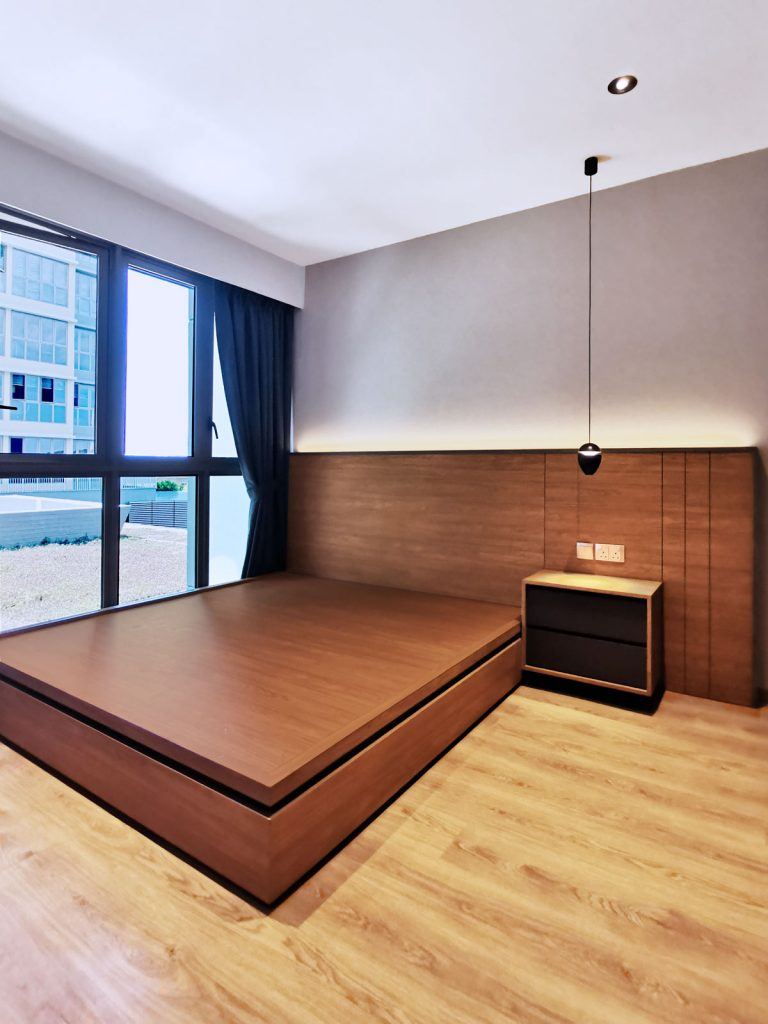 Modern Scandinavian Interior Design for Rivercove Residences EC Platform Bed and Customised Head Board in Ash Wood by Peter Su